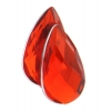 Acrylic 21x12mm Pear Shape Facet Bright Red